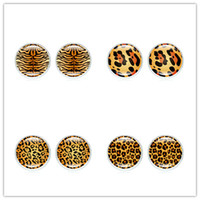 bronze überzogene ohrringe großhandel-Heiß! 20 Paar Ohrringe Modeschmuck mit Bronze / Silber Überzogene Glas Cabochon Tier Leopard Muster Ohrstecker für Frauen Geschenk