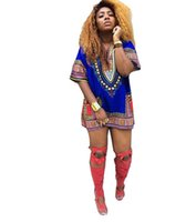 Wholesale Traditional African Clothing Plus Size Sexy Printing Loose Women Tutu Skirt Mid Sleeve Tops African Clothes