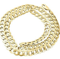 Wholesale 14k Curb Chain - Mens Real 10K Yellow Gold Hollow Cuban Curb Link Chain Necklace 8mm 24 Inch