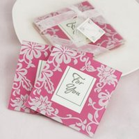 Wholesale Square Pink Cup - 2piece set French Romantic Wedding Cup Coasters Pink Morning Glory Frame Glass Cup Mat Fashion Home Gifts Drink Placemat