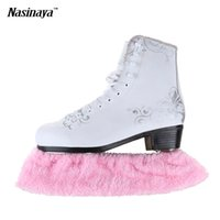 Wholesale Adult Ice Skating - Wholesale- Child Adult Long Fleece Ice Skating Figure Skating Skate Blade Cover Guard Solid Color Hockey Skate Accessory Athletic Elastic