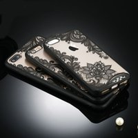 Custodie per iPhone 7 6 6 s 5 5 s SE plus Sexy Retro Floral Lace Flower Hard PC + TPU Custodie Cover posteriore Capa