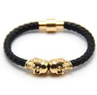 Wholesale Twin Charms For Bracelets - Fashion Vintage Design Northskull Genuine Leather Twin Skull Bracelets Bangles for Man Women Jewelry Gift free shipping