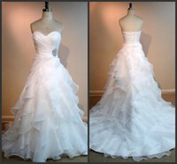Wholesale Modest Wedding Dresses Prices - Tiered SKirt Elegant Garden Wedding Dresses Long White Count Train Sweetheart Neck Lace Up Back Cheap Price Modest 2017 Vintage Design