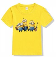 Wholesale Wholesale Minion T Shirts - 2017 New arrvial Hot Tshirt minions baby clothes child T-shirt children's children T-shirt min design yellow Bottoming shir 5pcs lot