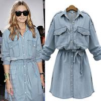 Wholesale Ladies Shirts Large Pockets - Spring Lady New Large Size Long Sleeved Denim Dress