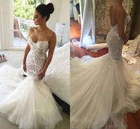 Wholesale Sweetheart Tulle Ruffles Wedding Gown - 2017 Sexy Mermaid Backless Wedding Dresses Spaghetti Neck Lace Applique Sleeveless Saudi Arabic Bridal Gowns Beads Sweep Train Wedding Dress