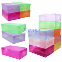 Atacado Nova Empilhável Foldable Shoe Storage Boxes Holder Container Organizador Colorido