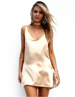 Wholesale Sexiest Satin Slips - 2016 New Fashion Sexy V Neck Satin Slip Summer Dress Sleeveless Mini Halter Evening Bodycon Club Wear Female Party Dresses