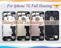 """Wholesale Iphone Middle Black - 4.7"""" For High Quality iPhone 7 7G Back Rear Cover Battery Full Housing Door Chassis Middle Frame Matte Black Jet Black Full Red"""