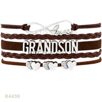 (10 PCS / Lot) Infinity Love Grand Son Heart Charm Bracelets For Women Men Jewelry Regalos Black Brown turquesa Wax Wrap Pulseras de cuero