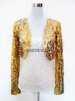 Wholesale Special Clothes Cheap - Wholesale- Cheap Sequin Special Occasion Bolero Evening Entertainer Stage Dance Costume Tops Clothing Jackets Wear for Musicians Women