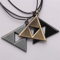 Wholesale Legend Zelda Jewelry - Anime The Legend of Zelda The Triforce cosplay Necklace Metal Figure Pendant Necklace Movie Kids Gifts Jewelry Retail wholesale 2017