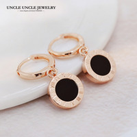 Design de marca de estilo clássico Rose Gold Color Black Round Esmalte Woman Drop Earring Wholesale