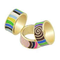 Wholesale Finger Ring Patterns - Boho Style Ethnic Rings High Quality Jewelry Colorful Enamel Stripe Pattern Round Finger Rings Female