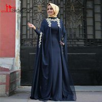 Wholesale Winter Weding Dresses Red - Classic Muslim Evening Gown with Long Sleeve Coat Modest High Neck Lace Appliqued A Line Floor Length Navy Blue Chiffon Weding Abayas