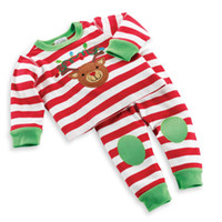 Wholesale Dress Shirts For Boys - Wholesale- Christmas kids costume baby girls&boys clothing sets cartoon t-shirt+striped pants 2PCS children's casual dress for 2-6Y