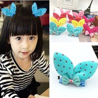 Корейские девушки Bunny Ear Hair Barrettes Princess Rabbit Ear Pretty Cute Classic Head Wear Модные детские зажимы для волос Bang clip duck clip 6 color
