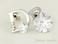 Wholesale Bijouterie Earrings - luxury brand small letter designer flowers brincos bijoux bijouterie earrings for women