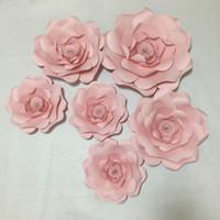 photo de fille de bébés achat en gros de-6pcs bébé rose géant fleurs en papier 30-50CM pour la décoration de fête de la fille de la fête ou la toile de fond de photo
