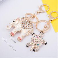 Tortoise Elephant Key Chain Porte-bagues - Crystal Rhinestone Keychain Porte-clés Lucky Mascot Charms For Handbag Car Pendants