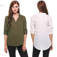 Wholesale Womens Long Shirt Fashion - Tops For Womens Direct Sell New Fashion Circular Arc Hem Chiffon Shirt Loose Plus Size Casual V-Neck Long Sleeve Solid Pullover
