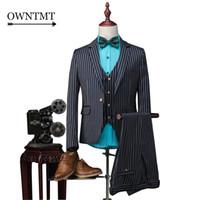 Wholesale Trajes Novio Tuxedo - Wholesale- Jackets+Pants+Vest 2017 Man Blue Stripe Suit Man Slim Wedding Groom Suits with Pants Tuxedo Costume Homme Trajes De Novio Hombre