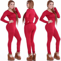 Wholesale Women Fashion Jumpsuits Wholesale - Wholesale- Tight Bodysuit Sexy Overalls Night Club Rompers Womens Jumpsuit Playsuit Bodycon Jumpsuit Macacao woman 2016 long Sleeve 4 color