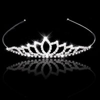 Wholesale Crowns Tiaras Women - Wedding Accessory Women Party Pageant Crystal Bridal Tiara Silver Plated Crown Hairband