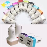 Wholesale tablet promotion - Promotion Metal 2.1A Dual USB 2 Port Car Charger Adapter For Tablet Ipad Iphone 6 7 Plus Samsung s7 s7edge s8 plus Mobile Phone