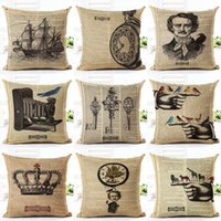 Wholesale vintage white pillowcases for sale - Group buy 45cm Fanshion Cotton Linen Fabric Throw Pillowcase Vintage Industry Hot Sale Inch New Home Coffee House Sofa Back Decor Cushion Cover