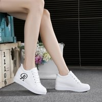 Wholesale Wedges Korean Style - Women girls fashion shoes new Korean style high heel sneakers with thick bottom casual shoes wedge