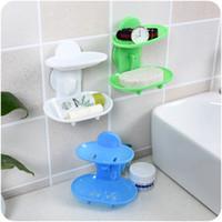 ingrosso piastra di scarico-Scatola di sapone Tipo ventosa Accessori per il bagno Plastica Flessibile Supporto di stoccaggio di alta qualità Piatto vassoio di scarico Strumenti creativi per il bagno 2mh J R
