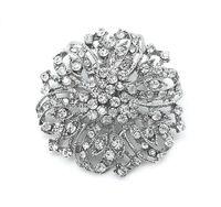 Wholesale Clear Rhinestone Crystal Vintage Diamante - Wholesale- Vintage Rhodium Silver Plated Clear Rhinestone Crystal Diamante Wedding Flower Bouquet Brooch 2 Inch