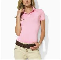 atlar gömlek moda toptan satış-Kadın Polo Gömlek Tarzı Yaz Moda büyük At Nakış kadın Yaka Polo Gömlek Pamuk Slim Fit Polos En Rahat polos gömlek Yaz