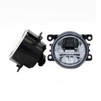 ford drl toptan satış-Ford C-Max / Fusion için 2013-2014 Ford Focus Için 2 adet Araba Styling Yuvarlak Ön Tampon LED Sis Farları DRL Gündüz Koşu sis f ...