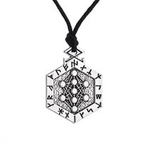 Wholesale Tree Pendant For Men - comejewelry Armanen Runes Talisman Voodoo yggdrasil Tree of Life Pendant for Man and Women Rope Necklace