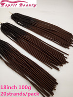 tresser les cheveux deux achat en gros de-New Dark Brown Two Tone Ombre Faux Locs Crochet Braiding Hair Extensions 18inch 20strands / pack 3pcs / lot Dreadlocks synthétiques Braiding Hair