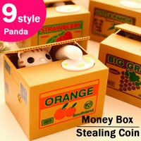 Wholesale Dog Steal Coin - Piggy Bank Cute Stealing Coin Cat Money Box Electric Savings box 9 style Cat Panda Dog Pig Mouse Monkey kids gifts Christmas toys