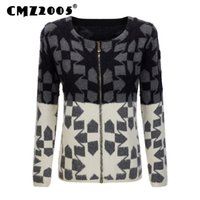 Wholesale Knit Sweater Decorated - Wholesale- Hot Sale New Style Women Apparel Long Sleeve Round Neck Zipper Decorate Patchwork Fashion Winter Cardigans Knitted Sweater 18033