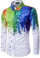 Wholesale Male Dress Design - New Korean Style Splashed Paint Design 3D Print Men Dress Shirt Slim Fit Male Long Sleeve Shirts chemise homme Plus Size M-3XL