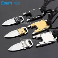Wholesale Belt Key Clips - Multi-function key kTactical Survival Multifunction Stainless Steel Knife Liner Lock, Hollowing-out Handle & Belt Clip for Outdoor Camping