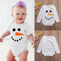 Wholesale Romper Long Sleeves Girls Boys - Christmas Pajamas Toddler Outfit Xmas Snowman Shirt Baby Romper Set Girl Boys Long Sleeve Onesies Infant One-Piece Autumn Kids Clothing Suit