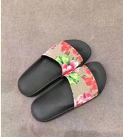 Wholesale Canvas Slippers For Men - Fashion slide sandals slippers for men and women WITH BOX 2017 BEST QUALITY Designer flower printed beach flip flops slippers EURO36-44