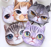 Wholesale Wholesale Girls Change Purse - 3D Cartoon Cats Face Zipper Coin Purses Wallets Mini Bag Pouch Girls Clutch Change Coin Case