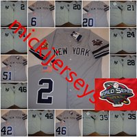 Hombres Derek Jeter 2001 WS Jerseys # 24 TINO MARTINEZ # 42 MARIANO RIVERA # 46 ANDY PETTITTE # 51 BERNIE WILLIAMS 3 Patch Jersey S-3XL