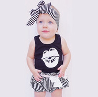 Wholesale girls lip shirt resale online - Newborn Baby Girl Romper headband set Summer Sleeveless letters lips T shirt strip short Infant Baby Clothes Toddler Jumpsuit Kids outfits
