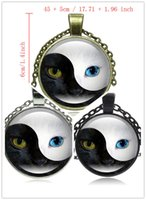 Unisex black cat plate - 10pcs Syle Fashion Tai Chi YIN YANG Glass Cabochon Pendant Necklace Silver Color Statement Jewelry Cat Eye Necklace for Women Men