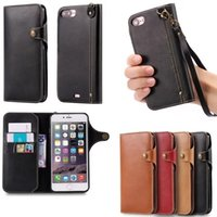 Wholesale Leather Card Case Lanyard - Vintage Luxury PU Leather Wallet Cell Phone Case with Lanyard Magnetic Button with TPU Soft Cover Skin for iphone 7 8 plus 6 6s 6 plus 5s