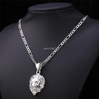 Hip Hop Big Lion Head Pendant Necklace Animal King Vintage Gold / Silver Color Hiphop Chain Para Homens / Mulheres Jóias Gift P333